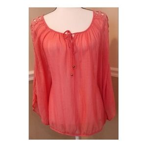Alyx Sheer Blouse with Crochet Sleeves L